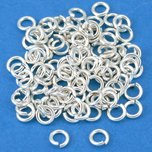 Open Jump Rings Silver Plated 4mm 100Pcs