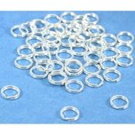 50 Sterling Silver Split Rings Charm Bead Parts 5mm