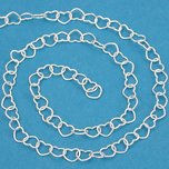 Bead Chain Heart Sterling Silver 3.8mm 1ft