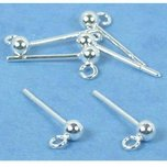 Ball Stud Earrings w/ Hoop Sterling Silver 3mm 3 Pairs