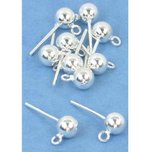 10 Sterling Silver Earrings Ball Stud Post Parts 5mm