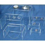 6 Clear Acrylic Jewelry Display Risers Showcase Stand