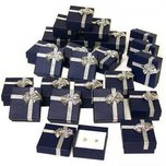 24 Blue Bow Tie Earring Gift Boxes