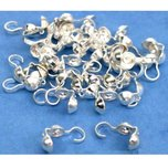 30 Bead Tips Clamshell Silver Plated Bead Stringing Parts