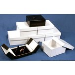 6 Ring Earring Boxes Black & White Leather Gift Display