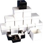 12 Earring Boxes Black & White Snap Lid Gift Display