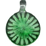 Green Lampwork Glass Pendant Bead Round Flower Part