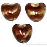3 Lampwork Beads Brown Foil Hearts Glass Jewelry
