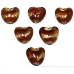 6 Brown Lampwork Foil Beads Glass Hearts Jewelry