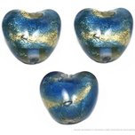 3 Lampwork Beads Blue Foil Hearts Glass Jewelry Parts