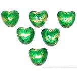 6 Green Lampwork Foil Beads Glass Hearts Jewelry