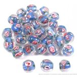 30 Blue Lampwork Beads Flower Jewelry Beading 10mm