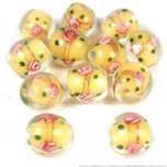 12 Yellow Lampwork Glass Beads Jewelry Flower Part 12mm