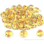 30 Lampwork Flower Beads Glass Jewelry 12mm Yellow Part