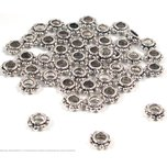 48 Spacer Bali Beads Nickel Jewelry Stringing Flat 6mm