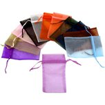 "Assorted Colors Organza Drawstring Jewelry Gift Bags Pouches 4"" x 5"" Kit 96 Pcs"
