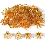 48 Gold Plated Bead Cap Bails Craft Necklace Jewelry Making Parts 7 Prong 9mm