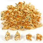 40 Gold Plated Bead Caps Necklace Chain Bail Pendants 10mm