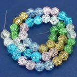 Round Faceted Crackle Crystal Beads Assortment 8mm 1 Strand