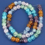 Round Crackle Crystal Beads Assortment 6mm 1 Strand