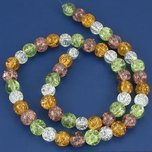 Round Crackle Crystal Beads Assortment 8mm 1 Strand
