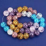 Round Crackle Crystal Beads Assortment 10mm 1 Strand