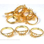 12 Gold Plated Finger Ring Jewelry Findings Charm Part