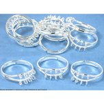 12 Silver Plated Adjustable Rings With Hoops