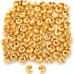 Crimp Bead Covers Gold Plated 4mm 100Pcs