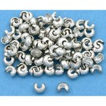 Crimp Bead Covers Silver Tone 5mm 100Pcs