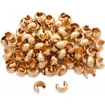 100 14K Gold Filled Crimp Bead Covers Beading 4mm x 3mm