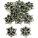 10 Antique Silver Plated Flower Bali Beads Jewelry New