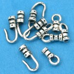 Crimp Cord Ends Hook & Eye Sterling Silver 1mm 10Pcs