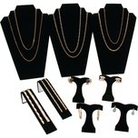 Black Flocked Necklace Earring Jewelry Displays 9Pc Set