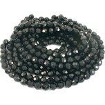 "Round Faceted Fire Polished Chinese Crystal Beads Black 10mm 10 12"" Strands"