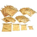 72 Gold Pouch Jewelry Gift Bags 4 Sizes