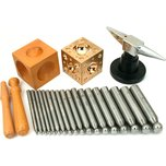 Deluxe Jewelers Punches Dapping Doming Set Of 18 Boxed Jewelry Design & Repair