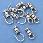 Crimp Cord Ends Hook & Eye Sterling Silver 4mm 10Pcs