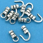 Crimp Cord Ends Hook & Eye Sterling Silver 8.5mm 10Pcs