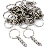 25 Nickel Plated Key Chain Ring & Chain 28mm x 3mm