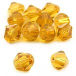 Bicone Crystal Beads Topaz 6mm 12Pcs