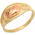 Gold Cat Ring With Hearts Size 8 10K Yellow & Rose Gold