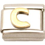 C Italian Charm Gold Plated Letter