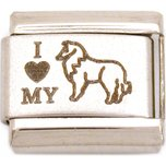 I Love My Collie Italian Charm Laser Dog Bracelet 9mm