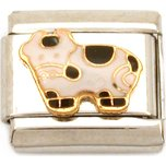 Cow Italian Charm Enamel Animal Bracelet Jewelry 9mm