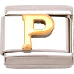 P Italian Charm Gold Plated Letter