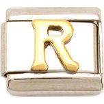 R Italian Charm Gold Plated Letter