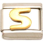 S Italian Charm Gold Plated Letter