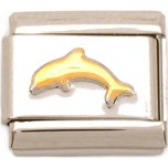 Dolphin Italian Charm Gold Plated Bracelet Jewelry 9mm