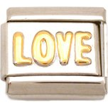 Love Italian Charm Gold Plated Bracelet Jewelry 9mm